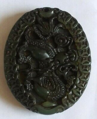 China Antique Hetian Jade Pendant of twoo side carved Dragon  玉坠