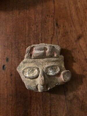 Ancient Pre-Columbian Pottery Head Fragment