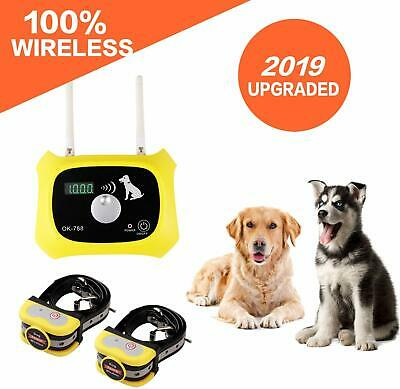 Wireless Dog Fence Electric Pet Containment System 1000 Ft Waterproof 2 Collars