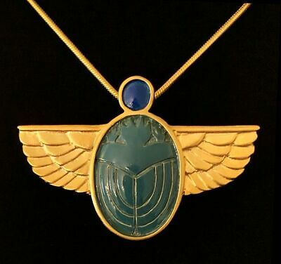 """Gold Finish Egyptian Winged Blue Scarab Pin/Pendant 2/18"""" x 1"""" ~ 18"""" Snake Chain"""