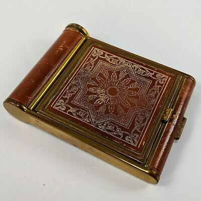 Vintage Compact Case with Lip Stick Holder Gold Tone Leather Western Germany