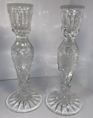 """Antique Leaded Crystal Etched Floral Candlesticks Pair 8"""""""