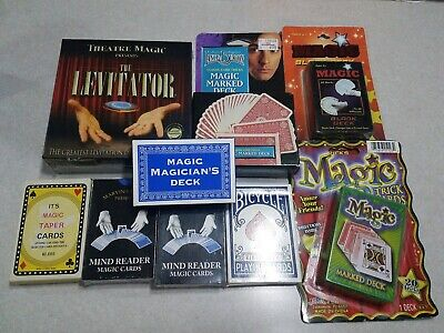 Lot of Magic Tricks Cards, The Levitator, Marked Cards, Mind Reader Cards