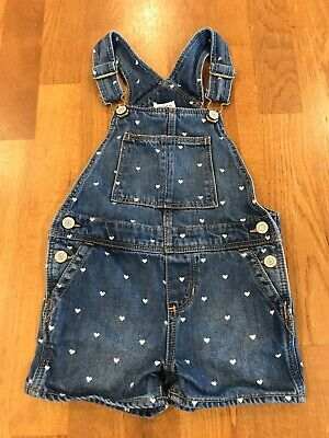 Toddler Girls Baby Gap 3T 3 Years Denim Jeans Shorts Bibs Overalls White Hearts