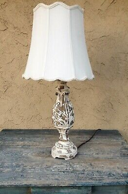 Shabby Chic French Country Cottage Reclaimed Distressed Wood Look Table Lamp