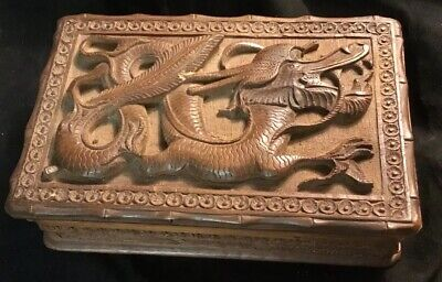 Equisite Wood Hand Carved Flying Dragon Playing Card Box
