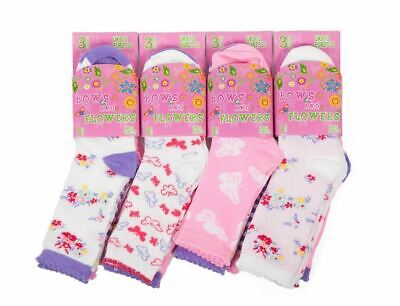 12 Pairs Girls Design Socks Cute Pattern Cotton Bows Flowers Socks Back to Schoo