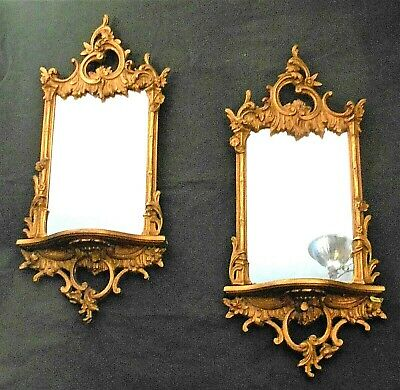 VINTAGE PAIR OF EARLY 20th CENTURY ROCOCO GILT MIRROR SHELVES