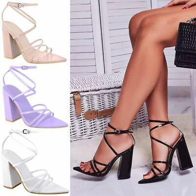 Womens Ladies Block Heel Lace Strappy Sandals Buckle Pointed High Party Fashion