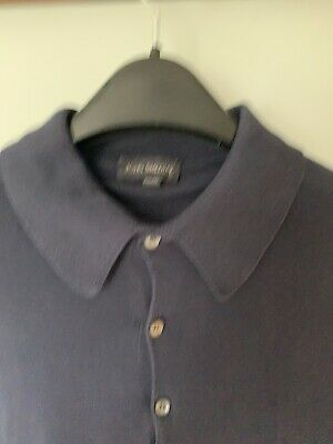 JOHN SMEDLEY navy blue Sea Island Cotton XL polo Shirt