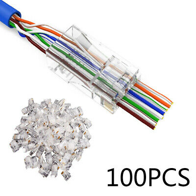 100 Pack CAT6 RJ45 Pass Through Network Cable Modular Plug Connector Open Ends