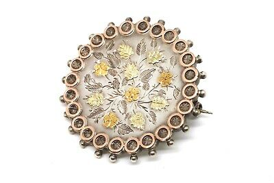 A Lovely Large Antique Victorian Silver 925 & Gold Detailed Brooch #17642