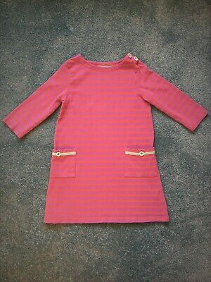 Girls Mini Boden 100% Cotton Dress Pink and Orange Stripes Size 6-7