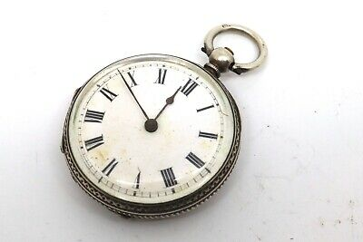Antique Victorian 800 Fine Solid Sterling Silver Ladies Fob Pocket Watch #17724