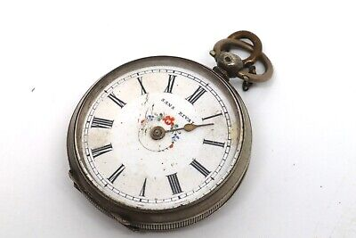 Antique Victorian 800 Fine Solid Sterling Silver Ladies Fob Pocket Watch #17749