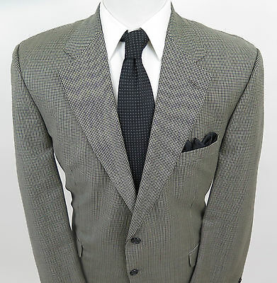 Brooks Brothers Men's Wool Brown Green Houndstooth Blazer Jacket Sport Coat 45 R