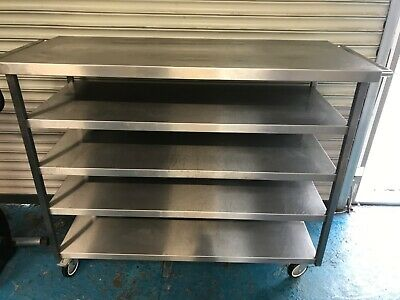 stainless steel Kitchen Catering 5 tier flat shelf unit on wheels