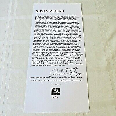 Amber Tamblyn - **SIGNED**LIMITED ED. 1/20 BROADSIDE POEM, Susan Peters,Russ