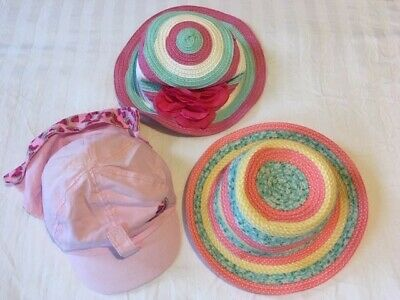 Bundle of Baby Girl Toddler Sun Hats Summer Hats for 1-4 years (3 items)