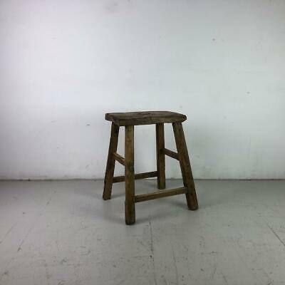 Vintage Rustic Antique Wooden Stool Milking Large Waxed W125