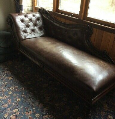 Victorian Mahogany Chaise Lounge, Original Buttoned Leather, Antique, Vintage