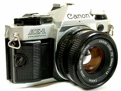 CANON AE 1 Program camera Silver with standard and 28mm lenses