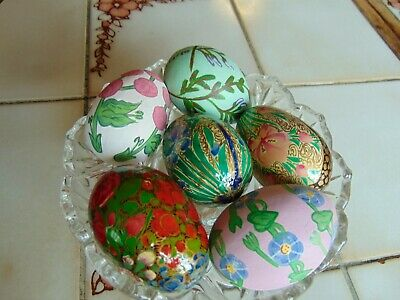 Hand Painted Wood And Porcelain Easter Eggs Lot Of 9