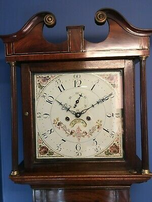 A working Antique Mahogany Grandfather Longcase Clock made by Hugh Hughes C1800
