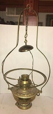 Antique Bradley & Hubbard No 89 Hanging Oil Lamp Country Store Vintage Brass