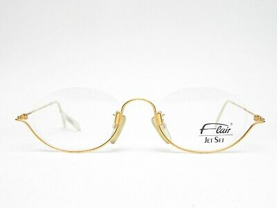 FLAIR Jet Set 762 Designer Brille Halbrand Brillengestell Damen gold Optiker NEU