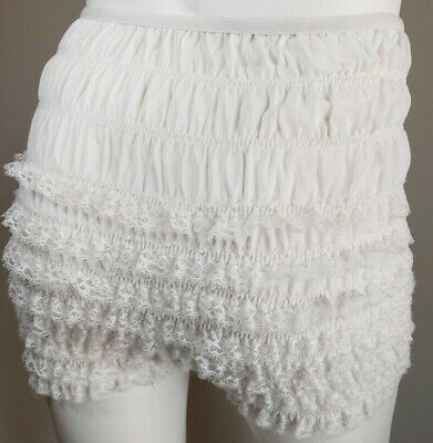 High Waist White Frilly Knickers Lace Ruffled Bloomers Fancy Panty Malco Modes