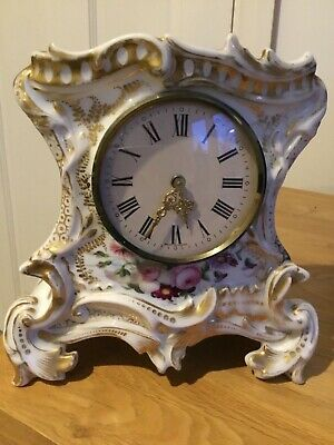Antique Porcelain Mercedes West Germany wind up Mantle Clock Hand Painted