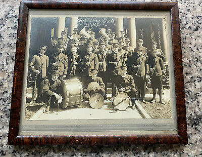 Antique Framed Black & White Photograph Of Brass Marching Band 1911 9 X 10