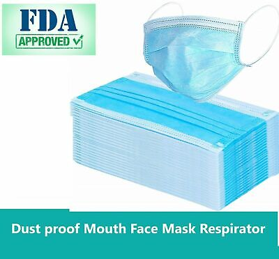 500 PCS Disposable Face Mask Surgical Medical Dental Industrial 3-Ply Lot