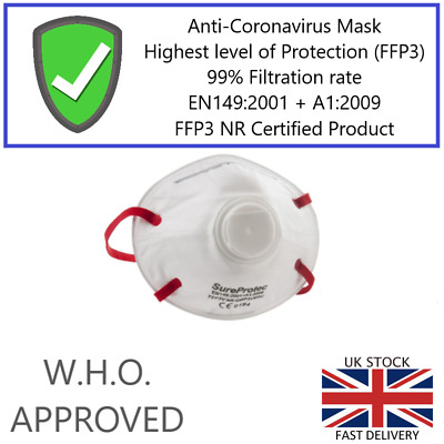 SureProtec Flu Virus Face Mask FFP3/N95/N99 Valved Breathing Respirator