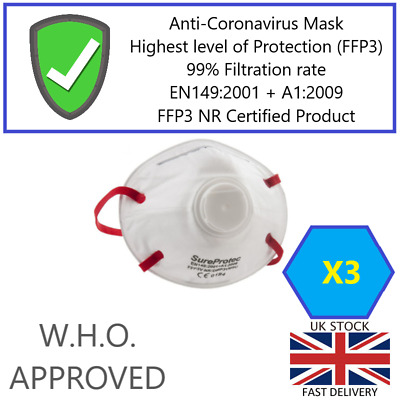 3x SureProtec Flu Virus Face Mask FFP3/N95/N99 Valved Breathing Respirator