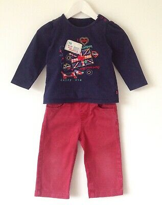 JOULES Girls' Red Trousers & Blue long sleeve Top set 2-3 years