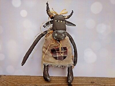 Primitive Animal Cow Folk Art Doll Collectible Toy Handmade Soft Farm Sculpture