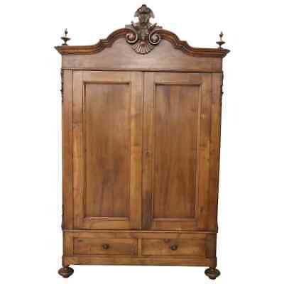 19th Century Italian Hand Carved Walnut antique Wardrobe or Armoire