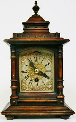 Good Antique Carved Oak Architectural Mantel Clock 8 Day Timepiece Bracket Clock