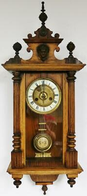 Antique 8Day Walnut Vienna Wall Clock German Striking Regulator Wall Clock C1900