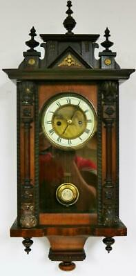 Antique Walnut 8 Day Vienna Wall Clock German Musical Chime Regulator Wall Clock