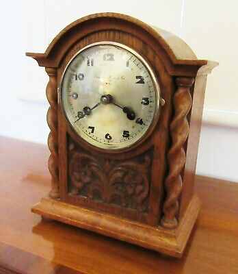 Edwardian Oak Cased Mantel Clock with Barley Twist Columns by the German Kienzle