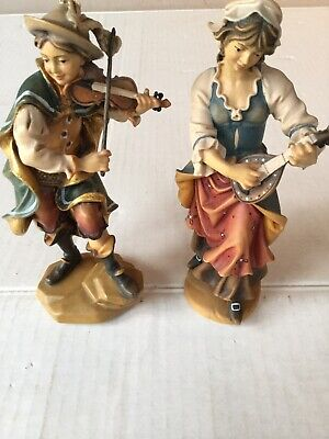 Exceptional Hand Carved  Painted Wood Boy Girl Violin Mandolin Germany