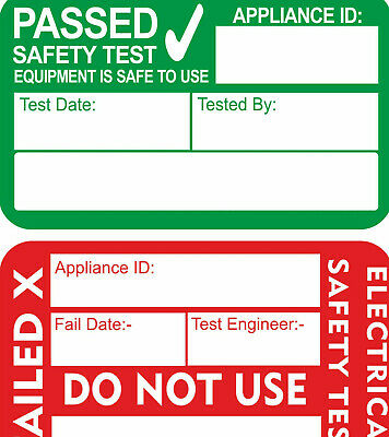 PAT Test FAILED Labels x 130  PERSONALISED or PLAIN STICKERS FOR PAT TESTERS