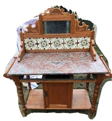 Victorian Pine Washstand With Marble Top, Mirror And Floral Tiles