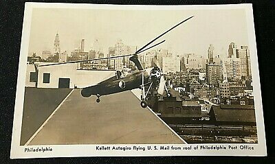 1939 * Post Card * KELLETT AUTOGIRO * RPPC * U.S. MAIL Philadelphia