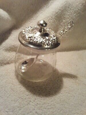 S. Kirk & Son STERLING SILVER AND GLASS JAM JAR WITH SPOON