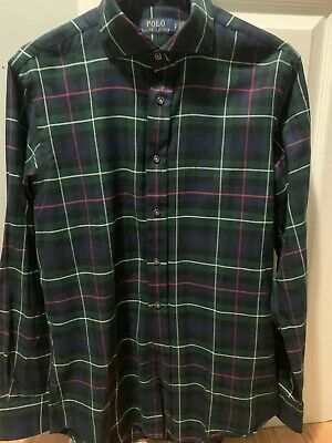 Polo Ralph Lauren Mens Green Red Blue Plaid Flannel Shirt NEW SMALL