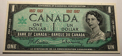 Canada 1967 Centennial One Dollar Note - Double Date Serial Number